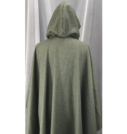 Cloak and Dagger Creations 4155 - Heathered Grey-Green Cashmere Blend Ruana Style Cloak, Olive Green Stretch Velvet Hood Lining, Pewter Vale Clasp