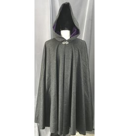 Cloak and Dagger Creations 4157 - Dark Grey Heathered Wool Cloak, Purple Velveteen Hood Lining, Pewter Vale Clasp