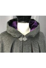 Cloak and Dagger Creations 4157 - Dark Grey Heathered Wool Cloak, Purple Velveteen Hood Lining, Pewter Vale Clasp