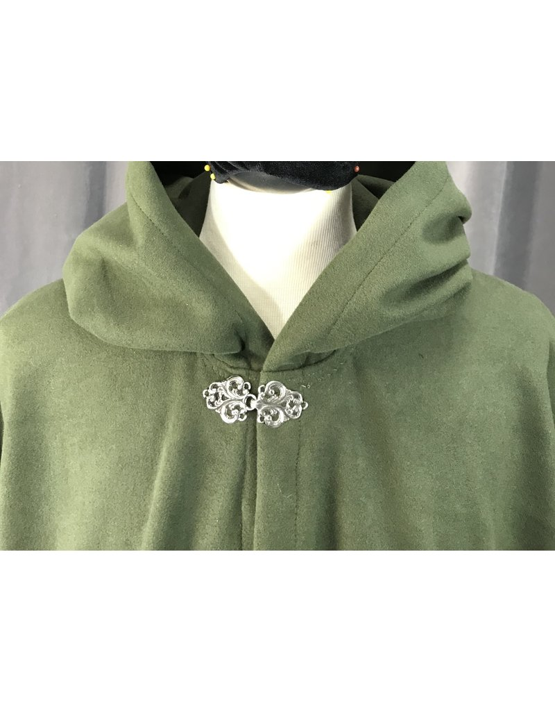 Cloak and Dagger Creations 4158 - Easy Care Dark Olive Green Ruana-Style Cloak, Pewter Vale Clasp