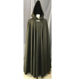 Cloak and Dagger Creations 4159 - Carob Brown Long Full Circle Wind Resistant Wool Blend Cloak, Brown Velvet Hood Lining, Pewter Triple Medallion Clasp