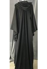 Cloak and Dagger Creations R462 - Washable Black Wool Mage's Robe, Wide Flared Sleeves