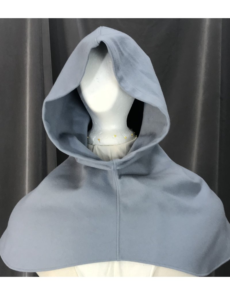 Cloak and Dagger Creations H229 - Hood in Light Blue-Grey Wool Blend, Mediumweight