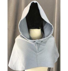 Cloak and Dagger Creations H229 - Soft Slate Blue Hooded Cowl, Wool Blend