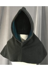 Cloak and Dagger Creations H204 - Hood in Charcoal Black Windblock Fleece, Heavyweight, with Turquoise Lining