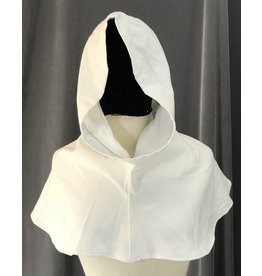Cloak and Dagger Creations H209 - White Waffle-Weave Cotton Blend Hooded Cowl w/Pointed Hood