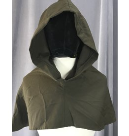 Cloak and Dagger Creations H211 - Olive Green Wool Blend Hooded Cowl