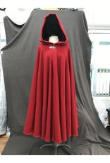 Cloak and Dagger Creations 4161 - Red Wool Blend Full Circle Cloak, Black Stretch Velvet Hood Lining, Pewter Clasp