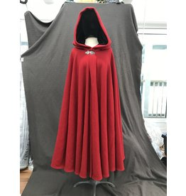 Cloak and Dagger Creations 4161 - Red Wool Blend Full Circle Cloak, Black Stretch Velvet Hood, Pewter Clasp