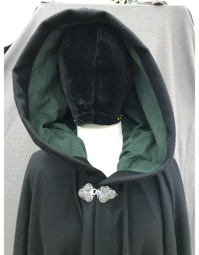 Cloak and Dagger Creations 4163 - Black Washable Wool Full Circle Cloak, Green Ultrasuede Hood Lining, Pewter Clasp