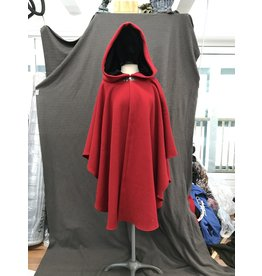 Cloak and Dagger Creations 4164 - Washable Red Wool Blend Ruana Style Cloak, Black Velvet Hood Lining, Pewter Clasp