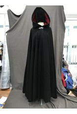 Cloak and Dagger Creations 4165 - Washable Black Wool Long Full Circle Cloak, Red Velvet Hood Lining, Pewter Clasp