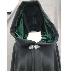 Cloak and Dagger Creations 4166 - Maritime Blue Wool XL Full Circle Cloak, Grey Velveteen Hood Lining, Pewter Clasp