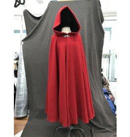 Cloak and Dagger Creations 4167-Black Plush Wool Blend Full Circle Cloak,  Green Stretch Velvet Lined Hood, Pewter Clasp