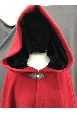 Cloak and Dagger Creations 4168 - Washable Red Wool Blend Full Circle Cloak, Black Stretch Velvet Hood Lining, Pewter Clasp