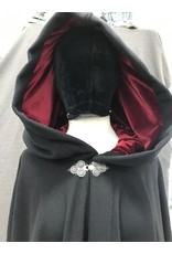 Cloak and Dagger Creations 4169 - Black Plush Wool Blend Full Circle Cloak, Red Stretch Velvet Lined Hood, Pewter Clasp