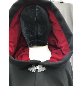 Cloak and Dagger Creations 4170 - Plush Black Wool Blend Full Circle Cloak, Blood Red Velvet Hood Lining, Pewter Clasp