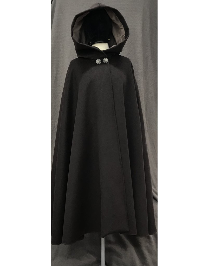 Cloak and Dagger Creations 4051- Deep Brown Shaped Shoulder Cloak w/Arm Slits & Pockets, Mink Grey Velvet Hood Lining, Round Filagree 2-Button Closure