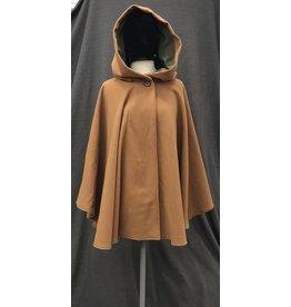 Cloak and Dagger Creations 4132 - Ochre Brown Full Circle Ruana-style Cloak w/Pockets, Moss Green Moleskin Hood Lining, Wood Button Closure