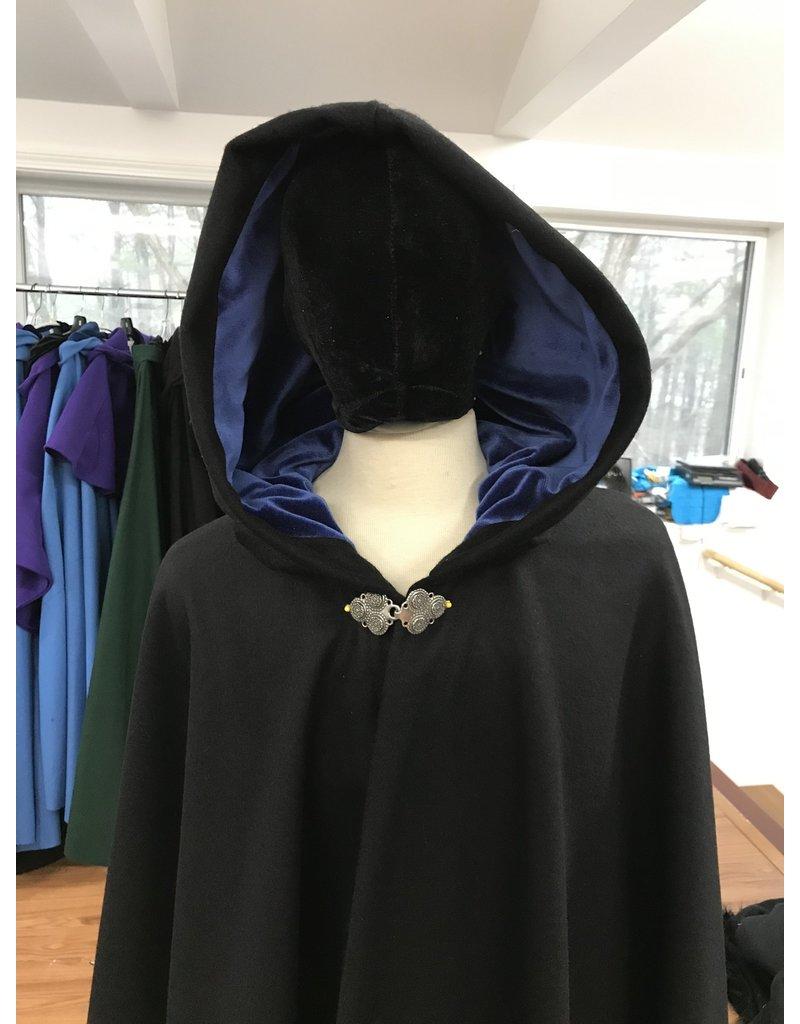 Cloak and Dagger Creations 4194 - Black Winter Weight Full Circle Cloak, Royal Blue Cotton Velvet Hood Lining, TBD Clasp