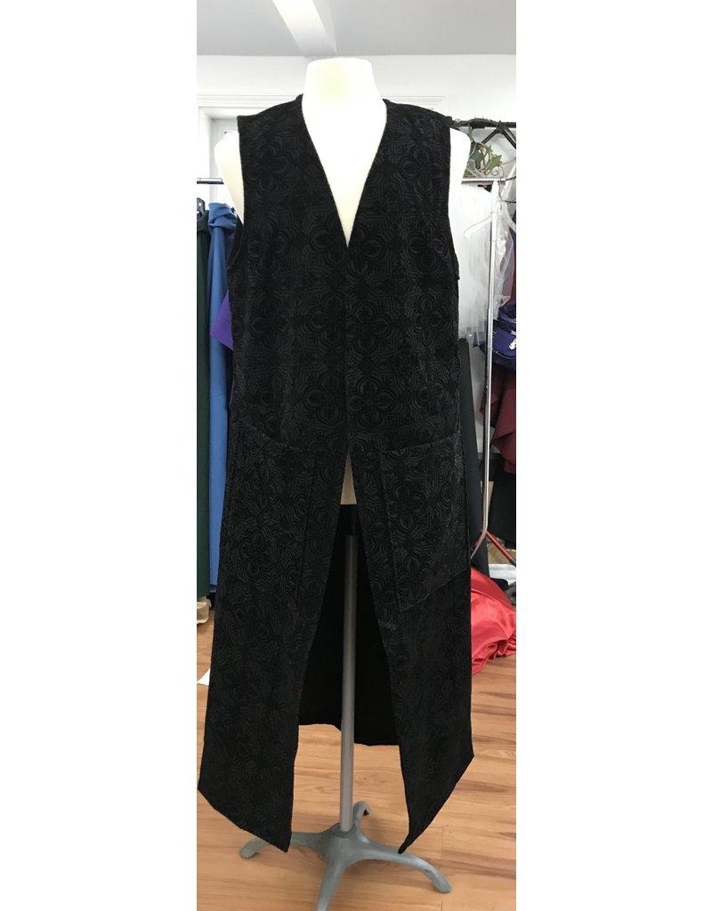 Cloak and Dagger Creations J700 - Easy Care Black Geometriclly Flocked Velvet Long Vest w/Pockets