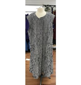 Cloak and Dagger Creations J701 - Grey Chenille Brocade  Periwinkle Blue Long Vest w/Pockets