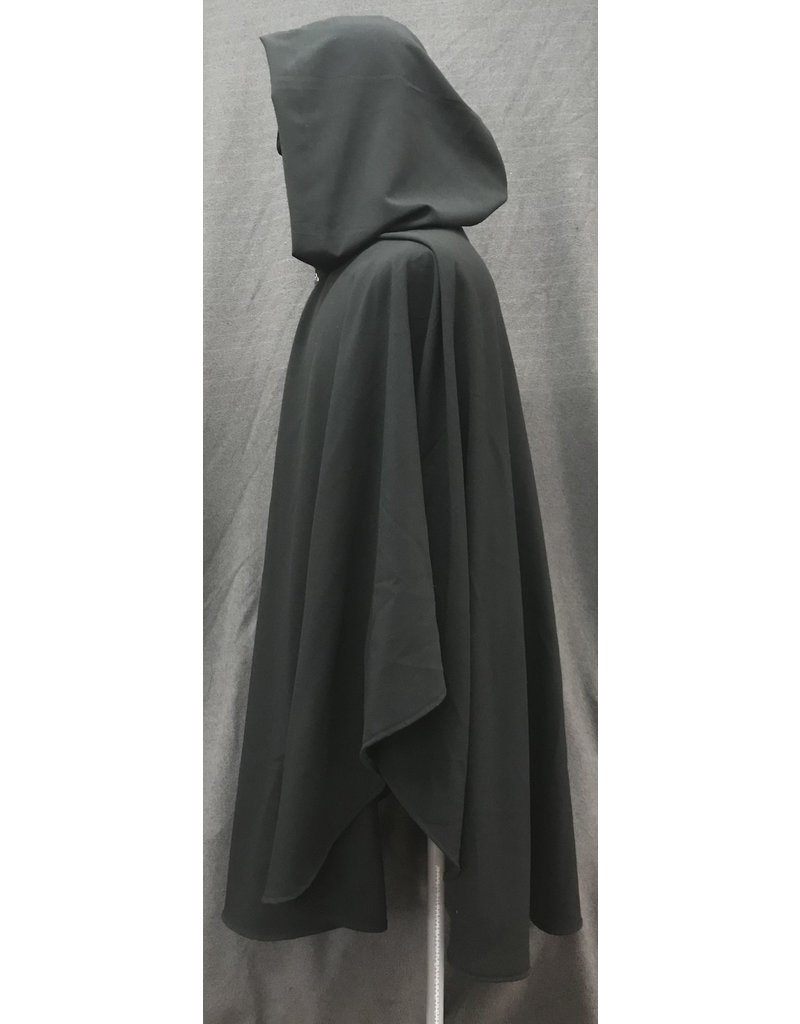 Cloak and Dagger Creations 4197 - Black Lightweight Washable Wool Blend Ruana-Style Cloak, Unlined Hood, Pewter Vale Clasp