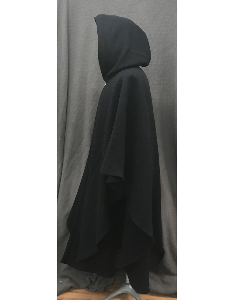 Cloak and Dagger Creations 4198 - Black Wool Boucle Ruana-Style Cloak, Purple Velveteen Hood Lining, Pewter Triple Medallion Clasp