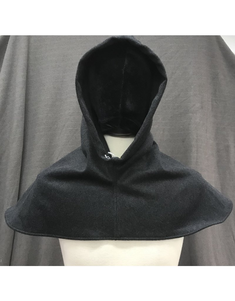 Cloak and Dagger Creations H243 - Grey Washable Wool Hooded Cowl