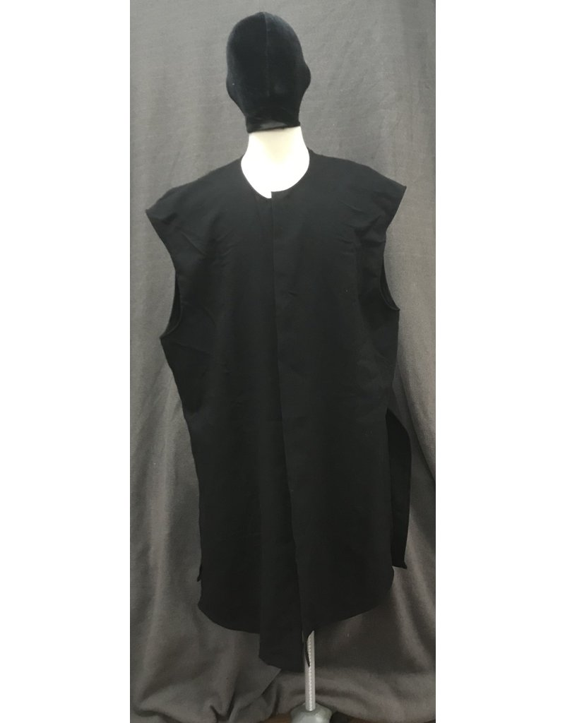 Cloak and Dagger Creations J702 - Black Lightweight Wool Vest, High Side & Back Vents