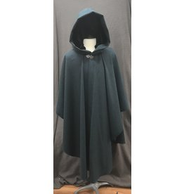 Cloak and Dagger Creations 4176 - Agrean Blue Wool Blend Ruana-Style Cloak, Black Silk Velvet Hood Lining, Pewter Vale-type Clasp