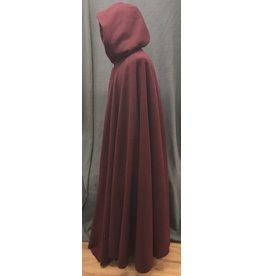 Cloak and Dagger Creations 4177 - Garnet Red Wool Blend Full Circle Cloak, Black Velvet Hood Lining, Clasp TBD