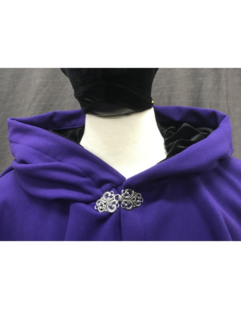 Cloak and Dagger Creations 4189 - Royal Purple Easy Care Ruana-Style Cloak, Black Stretch Velvet Hood Lining, Pewter Vale-Style Clasp