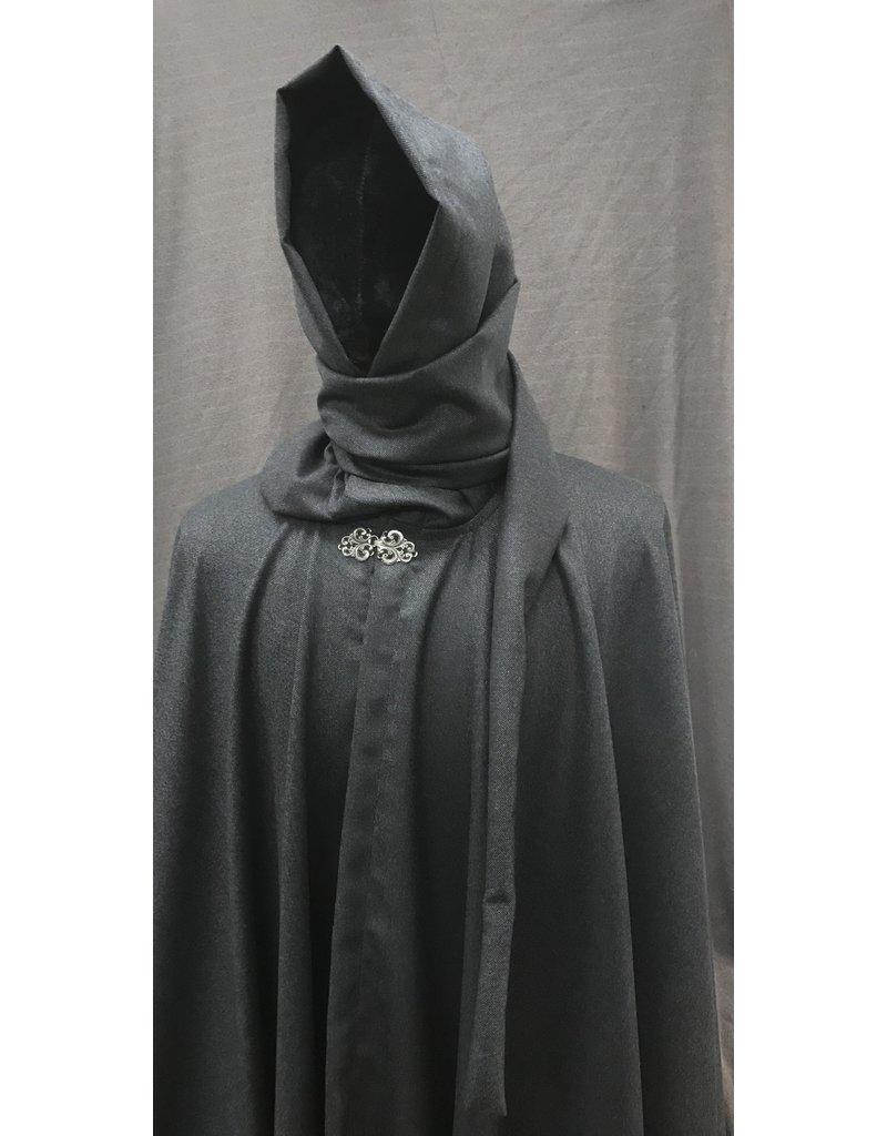 Cloak and Dagger Creations 4195 - Fine Grey Wool Full Circle Cloak w/Liripipe Hood, TBD Clasp
