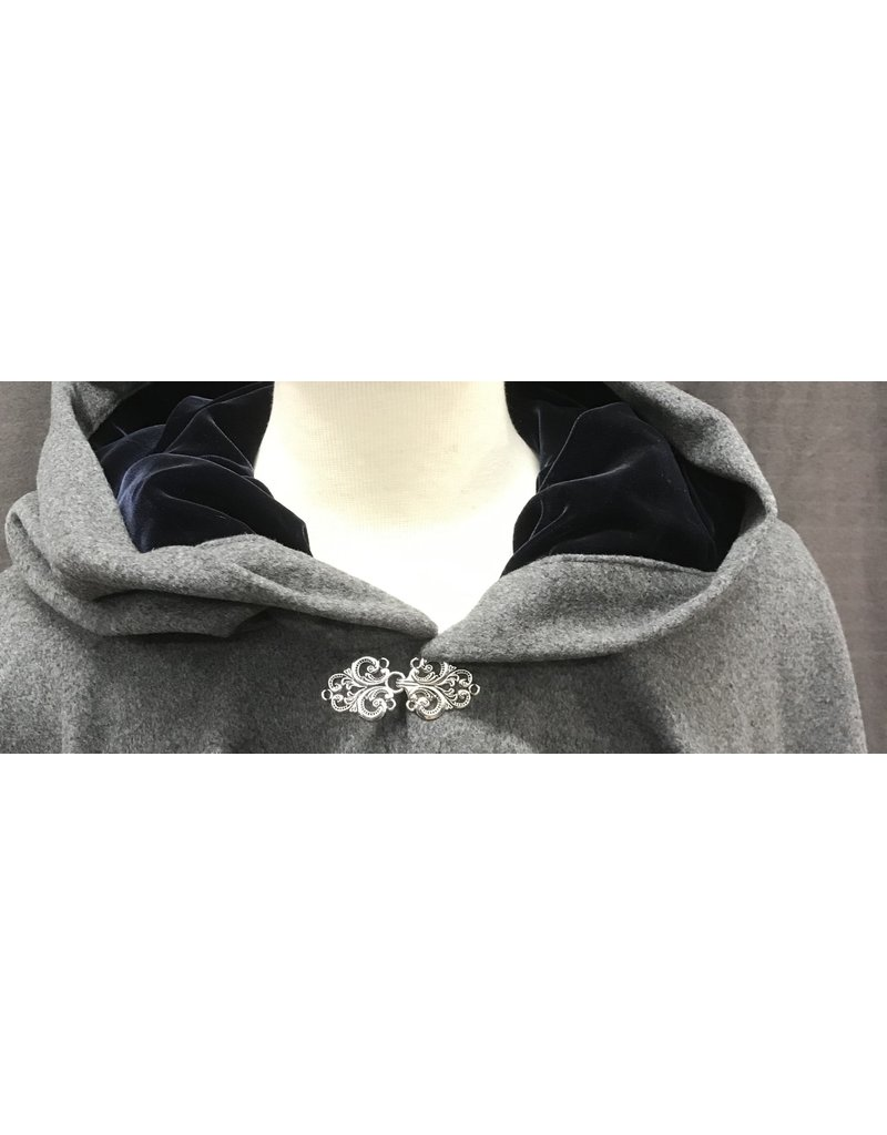 Cloak and Dagger Creations 4125 - Heathered Grey Wool Ruana Style Cloak, Midnight Blue Velvet Hood Liniing, Pewter Vale Clasp