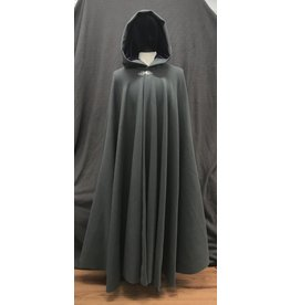 Cloak and Dagger Creations 4175 - Stone Grey Wool Blend Full Circle Cloak, Purple Velvet Hood Lining, Clasp TBD