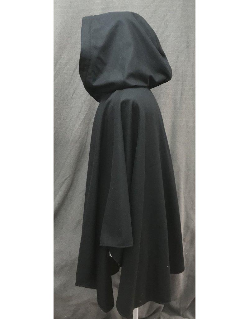 Cloak and Dagger Creations 4182 - Black Wool Ruana Style Cloak w/Vibrant Blue Stretch Velvet Hood Lining, Pewter Triple Medallion Clasp