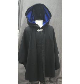 Cloak and Dagger Creations 4182 - Black Wool Ruana Style Cloak w/Vibrant Blue Stretch Velvet Hood Lining, Pewter Triple Medallion Clasp