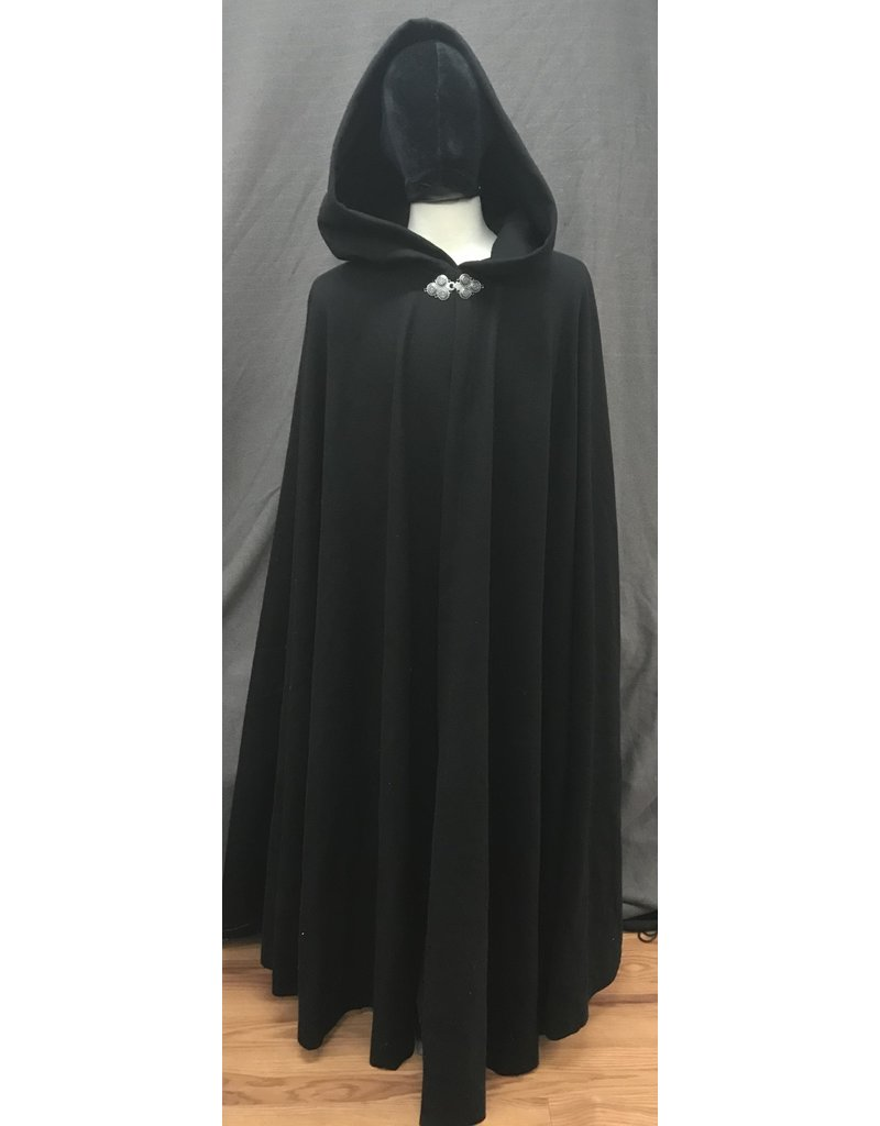Cloak and Dagger Creations 4185 - Black Washed Wool Extra Long Full Circle Cloak, Unlined Hood, Pewter Triple Medallion Clasp