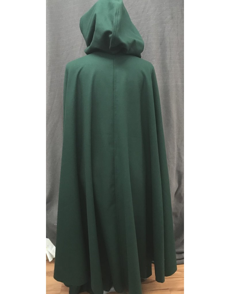 Cloak and Dagger Creations 4186 - Forest Green Wool Blend Full Length Cloak, Black Stretch Velvet Hood Lining, Pewter Vale-type Clasp