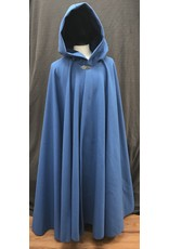 Cloak and Dagger Creations 4188 - Azure Blue Wool Blend Full Circle Cloak, Blue Cotton Velvet Hood Lining, Pewter Vale-style Clasp