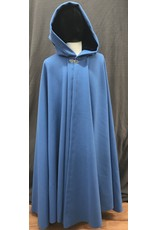 Cloak and Dagger Creations 4190 - Azure Blue Wool Blend Full Circle Cloak, Dark Blue Velvet Hood Lining, Pewter Vale-Style Clasp