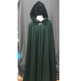 Cloak and Dagger Creations 4191 - Forest Green Wool Blend Full Circle Cloak, Liripipe Hood, Pewter Vale-Style Clasp