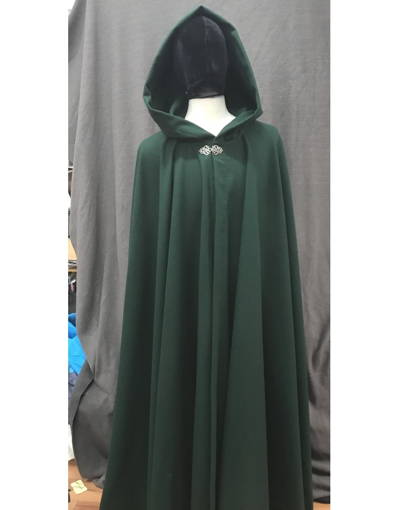 Cloak and Dagger Creations 4191 - Forest Green Wool Blend Full Circle Cloak, Unlined Hood, Pewter Vale-Style Clasp