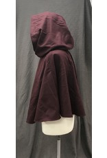 Cloak and Dagger Creations 4205 - Burgandy Red Wool Short Cloak, Black Crushed Velvet Hood Lining, Pewter Vale-type Clasp