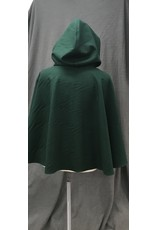 Cloak and Dagger Creations 4204 - Forest Green Shaped Shoulder Wool Blend Cloak, Purple Crushed Silk Velvet Hood Lining, Pewter Vale-type Clasp