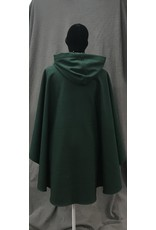 Cloak and Dagger Creations 4203 - Forest Green Wool Blend Ruana-style Cloak, Heathered Grey Moleskin Hood Lining, Petwer Vale-type Clasp