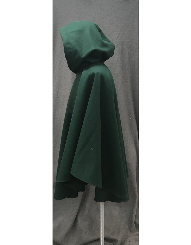 Cloak and Dagger Creations 4202 - Forest Green Wool Blend Ruana-Style Cloak, Brown Velvet Hood Lining, Pewter Vale-type Clasp