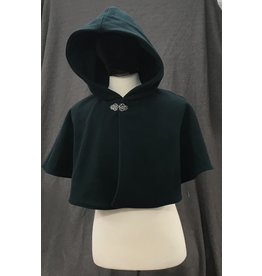 Cloak and Dagger Creations 4201 -Washable Spruce Green Wool Blend  Shaped Shoulder Short Cloak w/Pockets, Pewter Vale-type Clasp