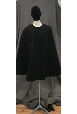 Cloak and Dagger Creations 4096 - Black Hoodless Shaped Shoulder Wool Blend Cloak, Magnetic Snap Closure